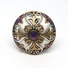 Echo Of The Dreamer Sterling Silver/Bronze Amethyst Monaco Ring, Size 10