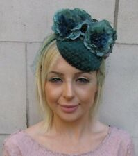 Bottle Emerald Dark Green Birdcage Veil Flower Fascinator Pillbox Hat 1940s 5940