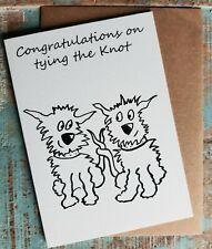 Greetings card Tying The Knot Wedding dog cartoon funny British made Blank