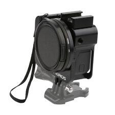 Black CNC Protective Case Skeleton Frame+52MM UV Lens Side Open f GoPro Hero 5/6