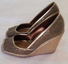 JEAN MICHEL CAZABAT Gold Women's High Wedge Platform Shoes Size 38