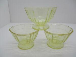 3 Vintage Yellow Depression Glass Bowls