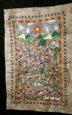Mexican Folk Art Painting On Leather Framed