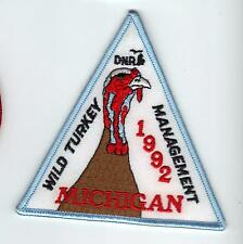 1992 MICHIGAN DNR SUCCESSFUL TURKEY-DEER HUNTER PATCH -HUNTING LICENSES- PINBACK