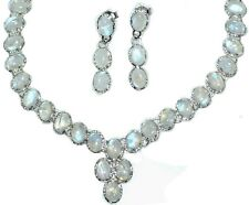 Sterling 925 Silver SET Rainbow Moonstone Necklace Earrings Genuine Gems Jewelry