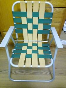 Vintage Aluminum Folding Chair Beach Lawn Patio Outdoor Green/Beige Webbed Strap