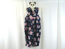 OSH KOSH Vestbak Floral Corduroy Overalls Size 18M Made in USA Blue Pink Bow