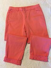 7c99bc25607779 Intro Relaxed Love The Fit Cotton Stretch Capri Pants Peach Size 6