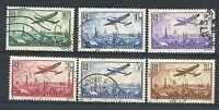 """FRANCE POSTE AERIENNE 8/13 """" AVION SURVOLANT PARIS 6 TIMBRES 1936 """" OBLITERES TB"""