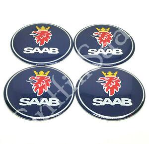 4 X Saab 55mm Blue Wheel Badge 93 95 9-3 9-5 900 9000 Centre Cap Logo Sticker