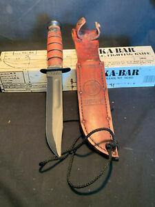 KA-BAR USMC Stacked Leather Grip Handle Fighting Fixed Blade Knife W/ Sheath Box