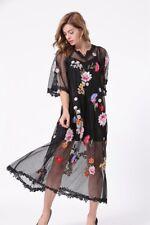 PGM24 Women Designer Inspired Embroidered Flower Black Mesh Long Dress PLUS SIZE