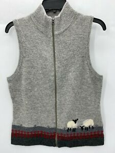 Woolrich Womens Small Vest Gray Full Zip Wool Sheep Graphic
