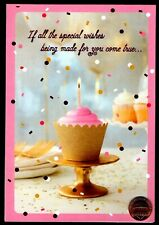 Birthday Hallmark Cup Cake Frosting Confetti - Pink Shine- Greeting Card