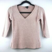 Eileen Fisher Women's XS Pale Pink Silk Fitted Loose Medium Knit 3/4 Sleeve Top