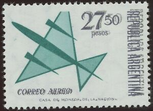 ARGENTINA 1965 airmail issue stylized jet plane 27.50 P U/M VARIETY DOUBLE PRINT