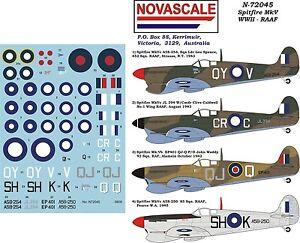 RAAF Decals Spitfire MkVb & MkVc WWII 1/72 Scale N72045