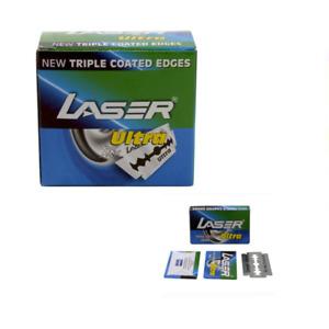 100 X Laser Ultra straight cut throat Double Edge RAZOR BLADES FREE SHIP.!!!!!!!