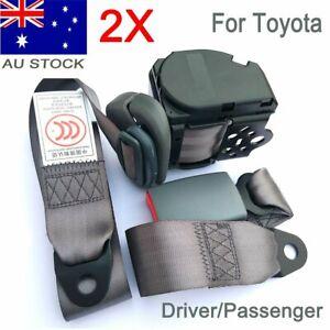 2Kits Grey Universal 3 Points Retractable Car Seat Lap Belt Seatbelt For Toyota