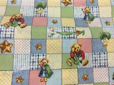 2-1/2 Yard Fabric SALE - Blue Jean Teddy Bear Blankie Cotton Quilt Patchwork