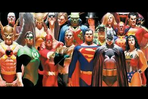 """Alex Ross Justice League silk canvas fabric poster (36"""" x 24"""" approx)"""