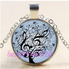 Music Tree of  Lfe Cabochon Glass Tibet Silver Chain  Pendant Necklace#CD5