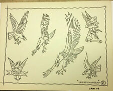 "1960's ""5 Eagles/ USAF/Skull"" Old School Tattoo Flash Signed Lee Roy Minugh 2"