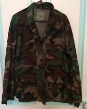 Military Men's Camouflage Green Button Pockets Heavy Shirt  Jacket Canvas Like B