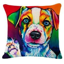 Cute PUPPY Paw Wave DOG LINEN-COTTON Pop Art CUSHION COVER Bright Colours, UK