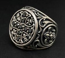 Vtg Men's Ring Gothic Crusaders Fleur-de-lis Sterling Silver Black Spinel Cross
