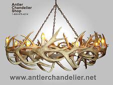 REAL ANTLER ELK/MULE DEER ROUND CHANDELIER 14 LIGHTS Rustic Lamps RMDRC