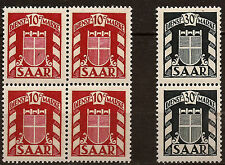 Saarland 2 Blocks of 4 and 2 T.de Service New N° yt 27/28 1949 Armoiries