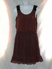 Criss Cross Sleeveless Womens Dress Dark Coral Peach Coral Blk Flouncy Ruffle M