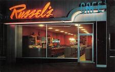 RUSSEL'S CAFES INC. Salt Lake City Roadside Diner Neon Signs c1950s Postcard
