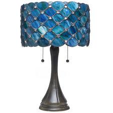 "Tiffany Style Blue Jeweled Table Lamp 14"" Shade"