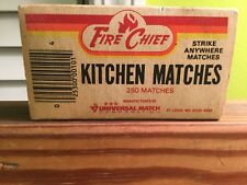 RARE VTG FIRE CHIEF Strike Anywhere Matchbox matches Large Kitchen Wood Match