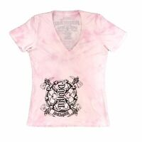 Red Chapter Clothing Shirt 2XL Women's Pink Tie Dye V Neck T Shirt Distressed