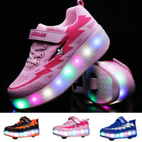 Kids Led Light Up Roller Skates Shoes Girls Double Wheels Sneakers Sport Shoes