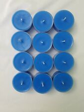 Set Of 12 Unscented Blue Soy Tea Light Candles