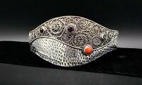 Vintage Inlay Filigree Cuff Bracelet Coral Amethyst Gaspeite Sterling Silver