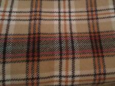 "Vintage Wool Plaid Fabric Yardage 60"" x 3 Yds Rust Brown Orange"