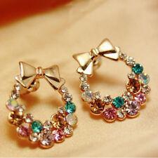 Ear Stud Earring Fashion Jewelry 1Pair Women Colorful Crystal Rhinestone Noble