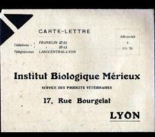 """LYON (69) INSTITUT BIOLOGIQUE / Produits Veterinaires """"MERIEUX"""" Carte-Lettre"""