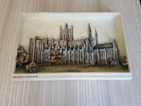 Vintage Ivorex 3D Wall Plaque of Chester Cathedral hand painted 30 x 19cm gc