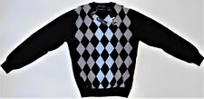 DAVIS & SQUIRE 100% Soft Merino Wool, Black w/Blue & Grey Argyle Sweater XL #412