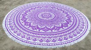 Purple Ombre Round Mandala Tapestry Mandala Beach Throw Towel Round Yoga Mat
