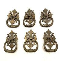 6 Bronze Brass Drawer Pulls Antique Styl Hardware Vtg Dresser Handles W872 W873