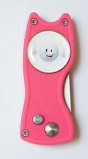 Pitchfix hybrid Rosa/silberfarben aufklappbar Ballmarker Golfball Smile Top