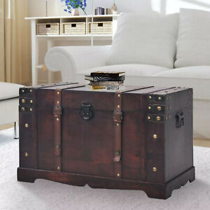 Vintage Wooden Treasure Chest Kit Storage Trunk Coffee Table Large Organizer Box
