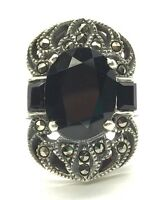 Vintage Sterling 925 Faceted Oval Black Onyx Marcasite Long Swirl Cocktail Ring